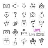 Liebe, Hochzeit, Valentinsgruß ` s Tag, Ikonen eingestellt Flaches Zeilendarstellungen des Vektors Stockbilder
