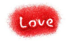 Liebe im roten Zucker Stockbild