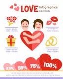 Liebe infographics Vier Schneeflocken auf weißem Hintergrund Zwei verklemmte Innere datum Stockbilder