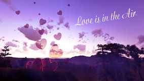 Liebe ist im Lufthintergrund mit Fliegenherzen Stockbilder