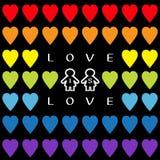 Liebe ist Liebestext Regenbogenherzsatz Des Stolzsymbols zwei der homosexuellen Ehe Konturn-Frauenzeichen Lizenzfreies Stockbild