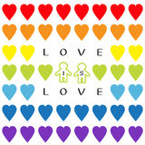 Liebe ist Liebestext Regenbogenherzsatz Stolzsymbol zwei der homosexuellen Ehe umreißen Mannzeichen nahtloses Muster LGBT-Zeichen Lizenzfreie Stockfotos