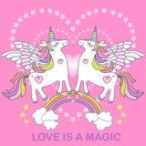 Liebe ist magisch Ein Paar weiße Einhörner auf einem rosa Hintergrund Vektor lizenzfreie abbildung