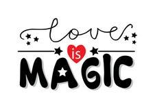 Liebe ist magische Beschriftung stock abbildung