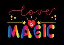 Liebe ist magische Beschriftung vektor abbildung