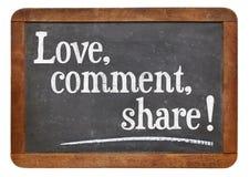Liebe, Kommentar, Anteil Lizenzfreies Stockfoto