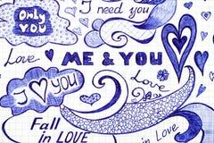 Liebe kritzelt Mitteilungen mit Phrase, Mustern und Elementen vektor abbildung