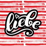 Liebe - miłość w niemiec Szczęśliwa walentynka dnia karta, Pisać literowanie również zwrócić corel ilustracji wektora Fotografia Stock