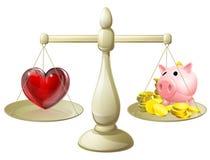 Liebe oder Geldbalancenkonzept Stockfoto