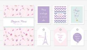 Liebe in Paris-Design Notizbuch, Karten und nette Schablonen der Tags eingestellt Honigmond, Valentinsgruß s, französische Bäcker stock abbildung