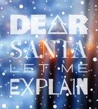 Liebe Sankt ließ mich Weihnachtsplakat erklären Stockbild