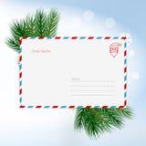 Liebe Santa Christmas Letter im Umschlag, Kinderwunschzettel für Santa Claus Unbelegte Postkarte Auch im corel abgehobenen Betrag stock abbildung