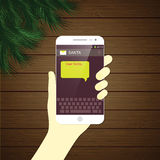 Liebe Santa Christmas-Mitteilung durch intelligentes Telefon Lizenzfreies Stockbild