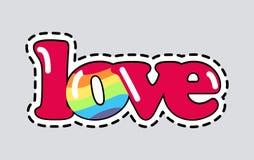 Liebe Schneiden Sie es aus patch Lokalisierte romantische Ikone lizenzfreie abbildung