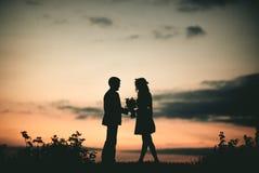 Liebe am Sonnenuntergang Lizenzfreie Stockfotos