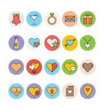Liebe u. Romance farbige Vektor-Ikonen 1 Lizenzfreie Stockbilder