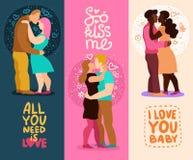 Liebe umarmt vertikale Fahnen lizenzfreie abbildung