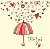 Liebe und Vlentine-` s Tagesgekritzeleinladung entwerfen Lizenzfreie Stockbilder