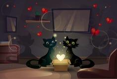 Liebe Valentine Day Gift Card Holidays Cat Couple Heart Shape Shining Lizenzfreies Stockbild