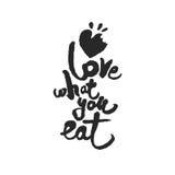 Liebe, was Sie Kalligraphie-Beschriftung essen Stockfotos