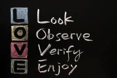 LIEBEN Sie Akronym auf einer Tafel Lizenzfreie Stockfotografie