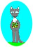 Lieben Sie Cat With ein Blumenstrauß von Blumen für geliebtes seins Lizenzfreie Stockfotografie