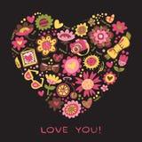 Lieben Sie das Herz, das von den Blumen und von den modernen Sachen gemacht wird. Vector illust Lizenzfreie Stockfotografie