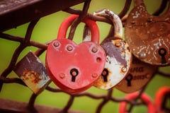 Lieben Sie das rote Herz-förmige Vorhängeschloß, das auf Eisenkette zugeschlossen wird Lizenzfreie Stockbilder