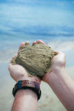 Lieben Sie den Strandsand Stockbild