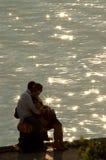 Lieben Sie in der Hintergrundbeleuchtung Stockfoto