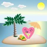 Lieben Sie die Herzen im Urlaub, die unter einer Palme auf dem Strand, a sitzen Stockfotos