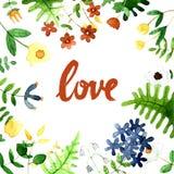 Lieben Sie die Karte und Einladung mit Hand gezeichneter Beschriftungs- und Aquarellblume heiraten vektor abbildung