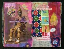 LIEBEN Sie die verrückte Klugheits-handgemachte Collage Art Journal des Künstlers vektor abbildung
