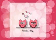 Lieben Sie Einladungskarte Valentinsgruß ` s Tag, tapezieren Sie Schnittminiherz, Schnitteulen, liebevolle Eulen, greller Glanz A Stockfotografie