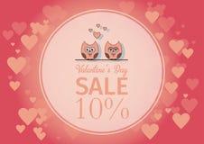 Lieben Sie Einladungskarte Valentinsgruß ` s Tag, tapezieren Sie Schnittminiherz, Schnitteulen, liebevolle Eulen, greller Glanz F Lizenzfreie Stockfotografie