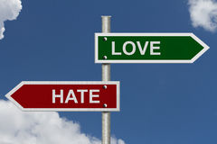 Lieben Sie gegen Hass Lizenzfreie Stockfotografie