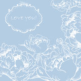 Lieben Sie Gruß-Karte mit Blumen und netter kleiner Fee. Stockfotografie