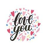 Lieben Sie Sie Hand schriftliche Phrase mit Dekorelementen Lizenzfreie Stockbilder
