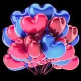 Lieben Sie Herz geformtes blaues Rosa des Parteiballon-Bündels vektor abbildung