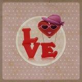 Lieben Sie Herzluftballon-Frauencharakter auf Weinlesehintergrund Stockfoto