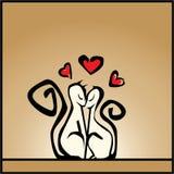 Lieben Sie, Hintergrund des Valentinsgrußes mit Katzen Lizenzfreies Stockbild