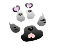Lieben Sie Ihr Katzen-Ikonen-Zeichen Lizenzfreie Stockfotografie