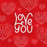 Lieben Sie Sie Karte für ` s St. Valentinte Tag Lizenzfreies Stockbild