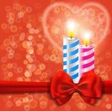 Lieben Sie Karte mit brennenden Kerzen Stockbilder