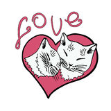 Lieben Sie Katzen, Katze, Kätzchen, nette Katzenskizzen-Vektorillustration Stockfoto
