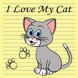 Lieben Sie mein Cat Represents Pet Tenderness And-Mitleid Lizenzfreie Stockbilder