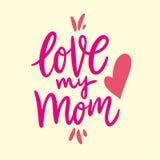 Lieben Sie meine Mutter Glücklicher Mutter`s Tag Hand gezeichnete Vektorbeschriftung Getrennt auf gelbem Hintergrund lizenzfreie abbildung