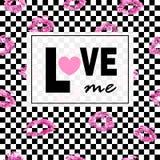Lieben Sie mich Rosa Lippen küsst Druckhintergrund abstrakter und dynamischer Hintergrund Modischer Plan Postkarten, Logos, Aufkl Lizenzfreies Stockfoto