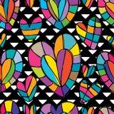 Lieben Sie nahtloses Muster der bunten schwarzen weißen freien Zeichnung Stockfoto