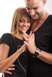 Lieben Sie Paare, Geliebte Hand in Hand im Studio lizenzfreies stockbild